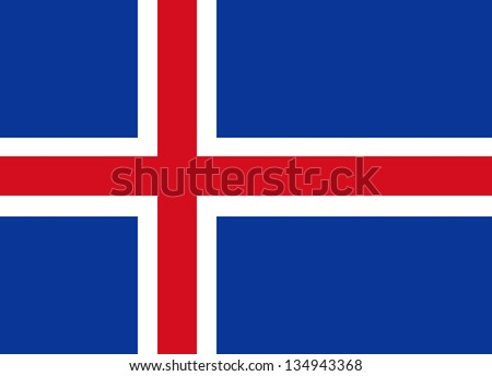 Civil flag and ensign of Iceland. Proper ratio (18:25). Adopted June 17, 1944.