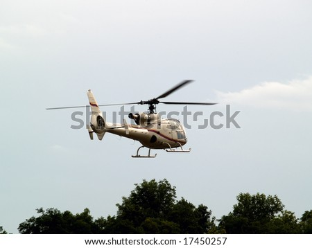 Civil helicopter hovering ready to climb and cruise