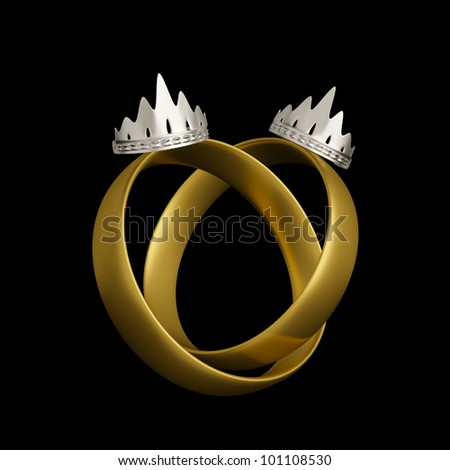 Civil partnership wedding rings conceptual design with two crowns isolated on black background. Lesbian wedding rings