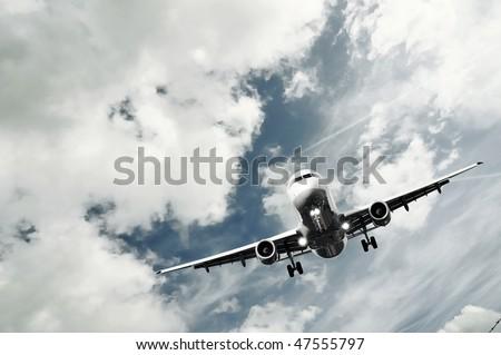 civil passenger airplane landing