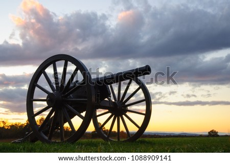Civil War Battlefield Cannon - Shutterstock ID 1088909141