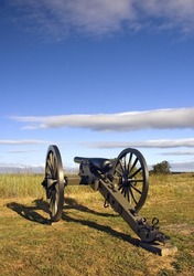 Civil War Cannon in Early Morning Light Gettysburg Battlefield, PA