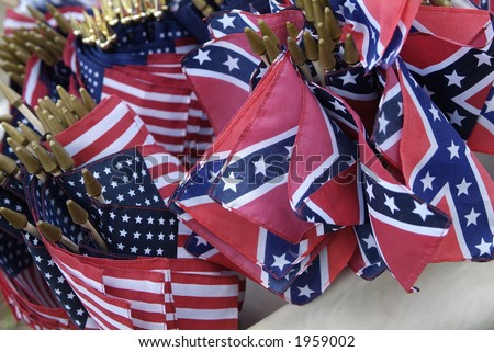 Civil War reenactment American Union and Confederate flags