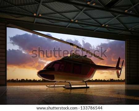 Civilian helicopter in the hangar.