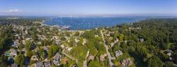 Claiborne Pell Newport Bridge on Narragansett Bay and town of Jamestown aerial view in summer, Jamestown on Conanicut Island, Rhode Island RI, USA.