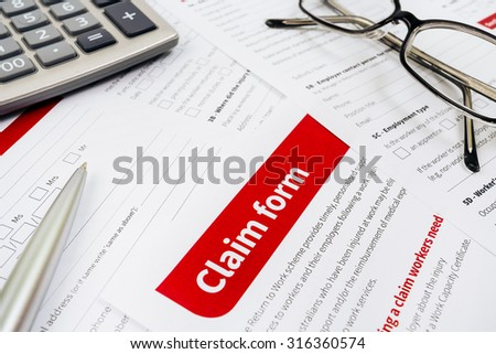 Claim form, paperwork and legal document
