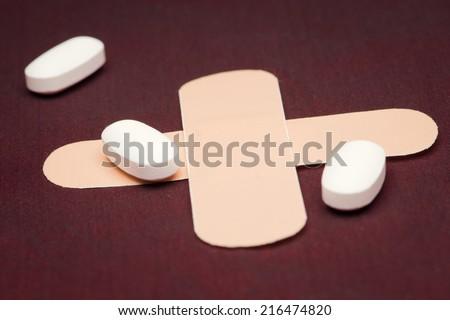 Clairvoyance equipment with pills on dark desk #216474820