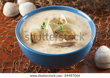 Clam chowder - stock photo