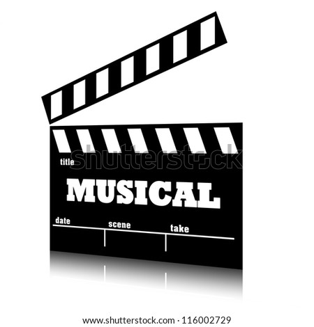Clap film of cinema musical genre, clapperboard text illustration.