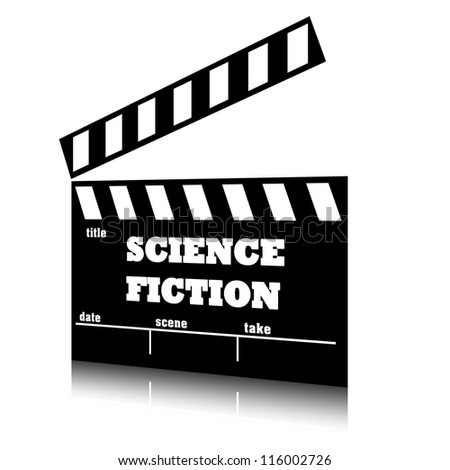 Clap film of cinema science fiction genre, clapperboard text illustration.