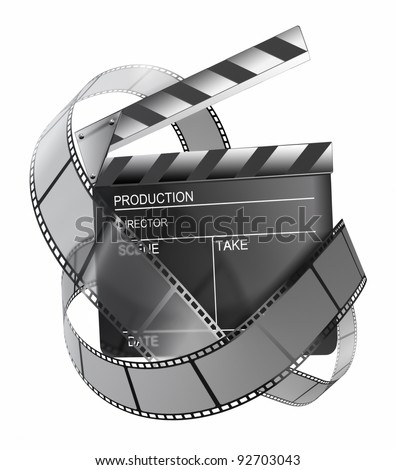 Clapboard and film strip - stock photo