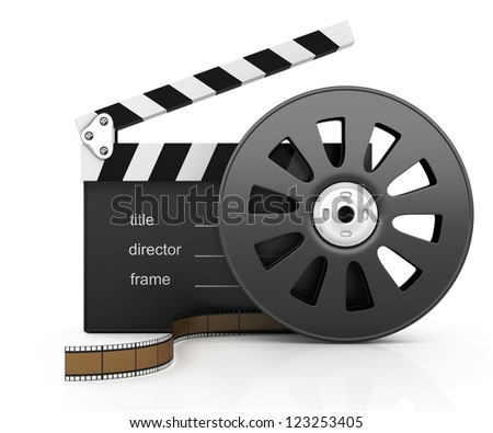 clapper board and filmstrip isolated on white background. 3d rendered image