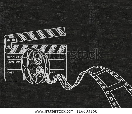 clapper board and movie film roll written on blackboard background collection set.