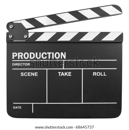 Clapper board isolated on white background - stock photo