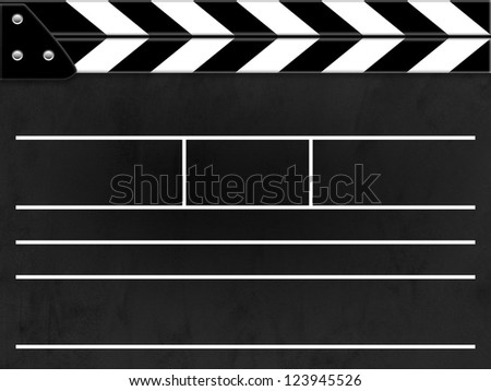 Clapper board or slate black board with texture - stock photo