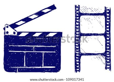 Clapper board. Raster - stock photo
