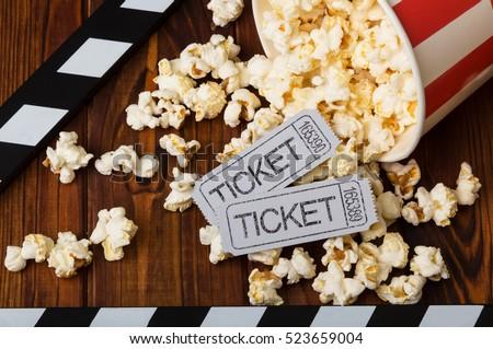 clapper board  spilled popcorn...