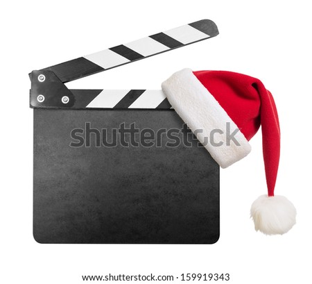 Clapper board with Santa's hat on it isolated on white