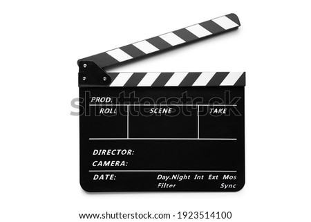 Clapperboard isolated on white background with clipping path