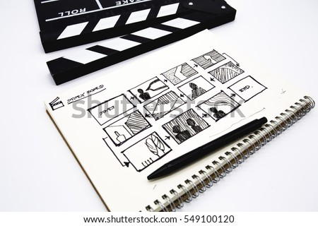 clapperboard with sketchbook for writing storyboard on white background
