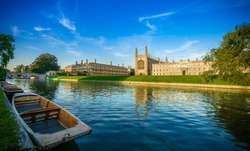 Clare & King's College with beautiful sky at sunrise in Cambridge, UK