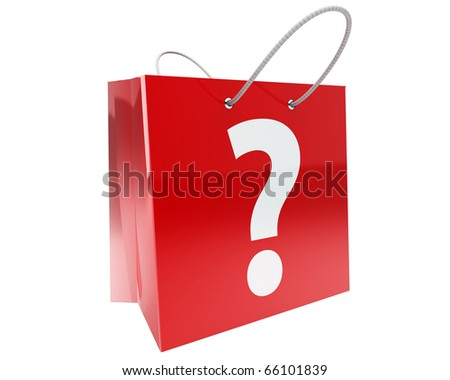 claret shopping bag with big white question mark and nice reflections isolated on white background