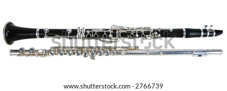 Clarinet and flute Isolated on white