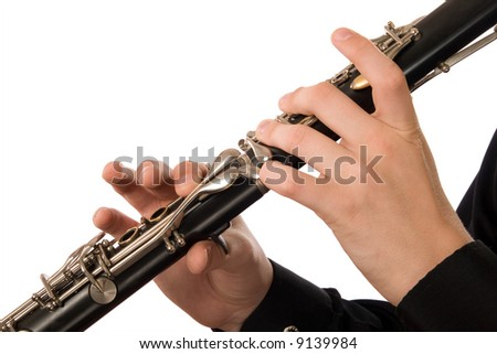 Clarinet player. It is isolated on a white background.