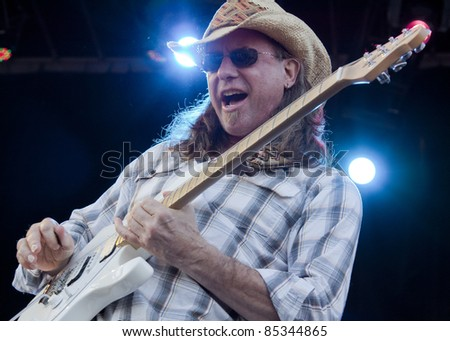 CLARK, NJ - SEPT 18:  Guitar player for Southside Johnny & The Asbury Jukes performs at the Union County Music Fest on September 18, 2011 in Clark, NJ.