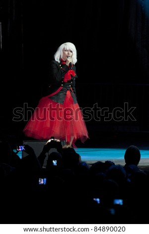 CLARK, NJ - SEPT 17: Singer Deborah Harry of the band Blondie performs at the Union County Music Fest on September 17, 2011 in Clark, NJ. The band will tour to support the release of Panic of Girls. - stock photo