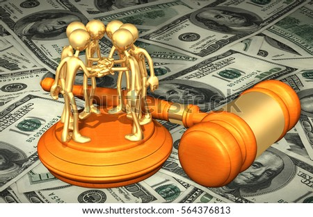 Class Action Law Concept With The Original 3D Character Illustration