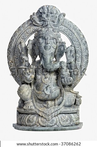 classi stone sculpture of indian god ganesh on white