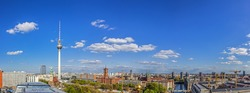 Classic aerial wide-angle view of Berlin skyline with famous TV tower at Alexanderplatz  in summer, central Berlin Mitte, Germany