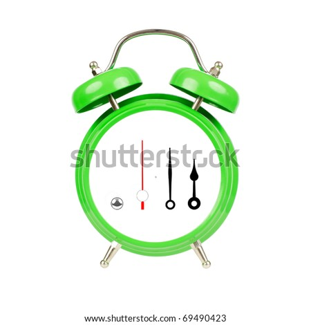 Classic alarm clock. Isolated, green on white.