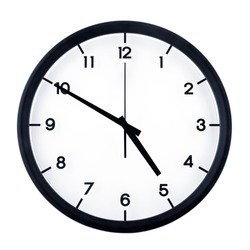 Classic analog clock pointing at four fifty, isolated on white background.