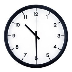 Classic analog clock pointing at 8 o'clock, isolated on white background