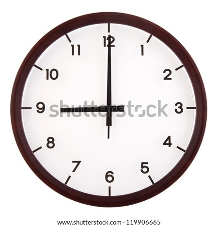 Classic analog clock pointing at 9 o'clock, isolated on white background