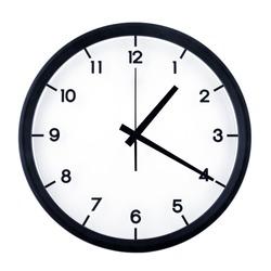 Classic analog clock pointing at one twenty, isolated on white background.