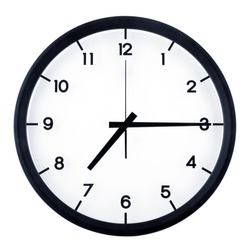 Classic analog clock pointing at seven fifteen o'clock, isolated on white background