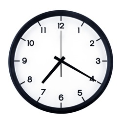 Classic analog clock pointing at seven twenty, isolated on white background.