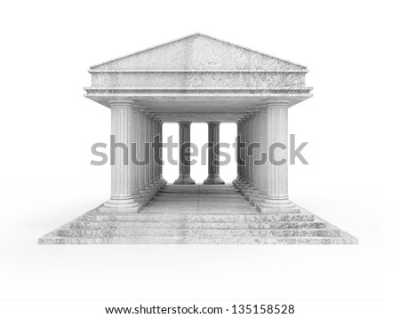 Classic Ancient Building isolated on white background