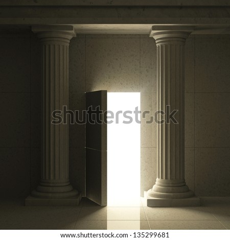 Classic Ancient Interior with Columns and Opened Secret Door
