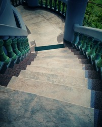 Classic and beautiful stairway steps to entry.