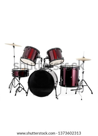 Classic and ethnic musical instruments with drum set Indian  - Vector isolated on white background image