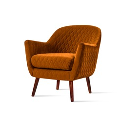 Classic armchair art deco style in orange velvet with wooden legs isolated on white background. Front view, grey shadow. Series of furniture