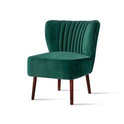 Classic armchair art deco style in turquoise velvet with wooden legs isolated on white background. Front view, grey shadow. Series of furniture