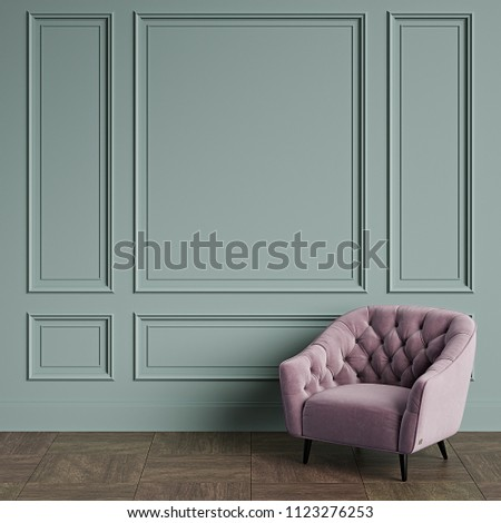 Classic armchair  in classic interior with copy space.Emerald pale color walls with mouldings. Floor parquet.Digital Illustration.3d rendering