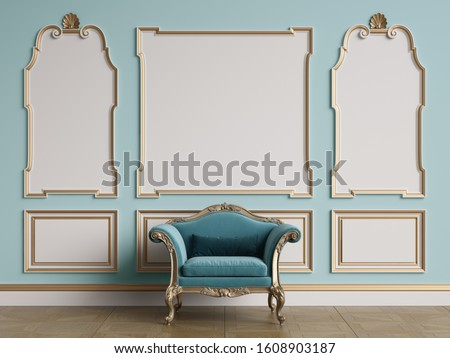 Classic armchair in classic interior with copy space.Walls with ornated mouldings.Floor parquet.Digital Illustration.3d rendering