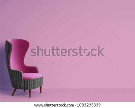 Stock Photo Classic armchair in purple and grey color on pink background with copy space.Minimal concept.Digital Illustration.3d rendering