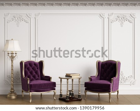 Classic armchairs in classic interior with copy space.Walls with mouldings,ornated cornice. Floor parquet herringbone.Digital Illustration.3d rendering